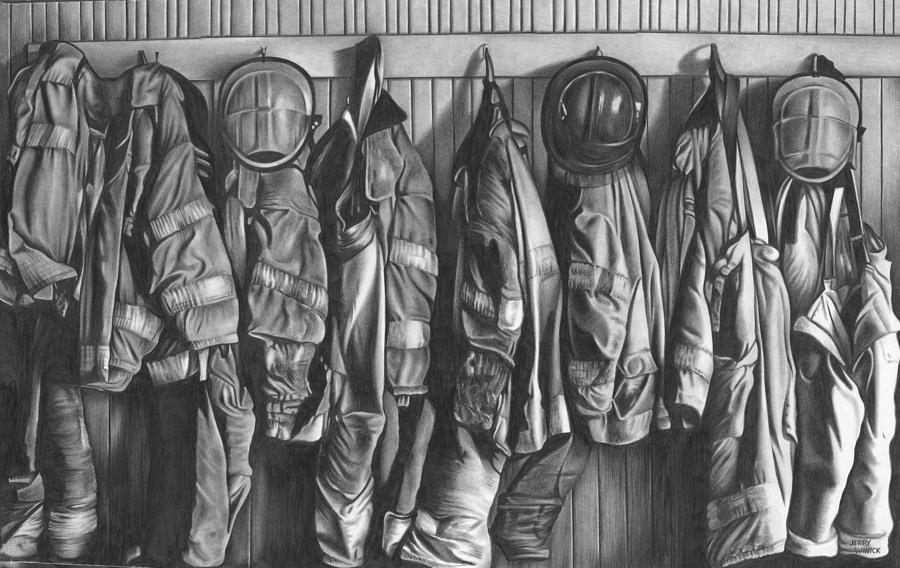 Firemen Drawing - Firemens Coats by Jerry Winick