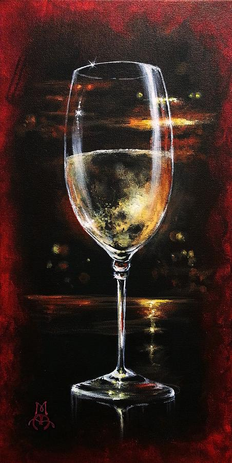 Wine Painting - Fireside French by Marco Antonio Aguilar
