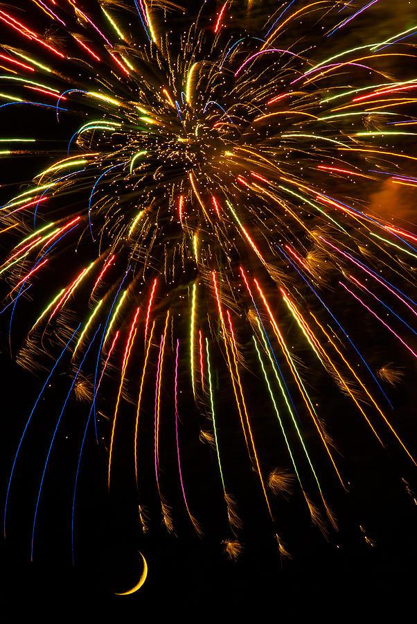 Abstract Photograph - Firework Indian Headdress by Darryl Dalton