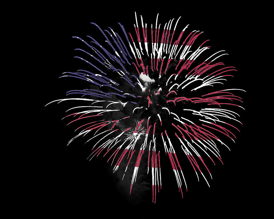Fireworks Photograph - Firework Over Flag by Robert Graybeal