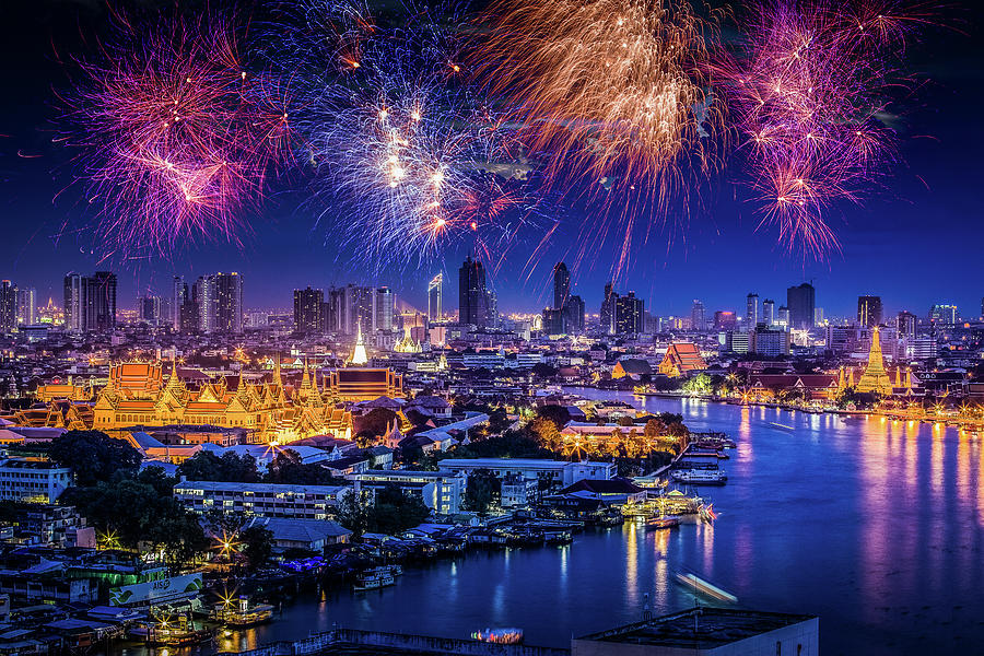 Fireworks Above Bangkok City Photograph by Natapong Supalertsophon