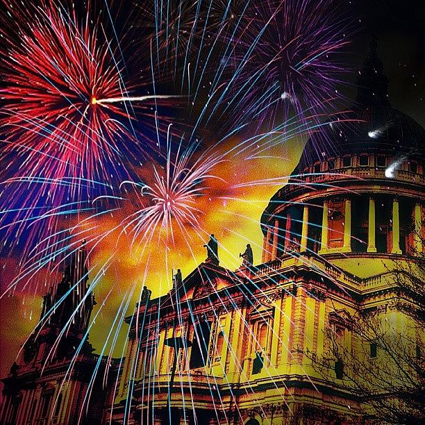 Love Photograph - Fireworks Above St. Pauls Cathedral London England by Chris Drake