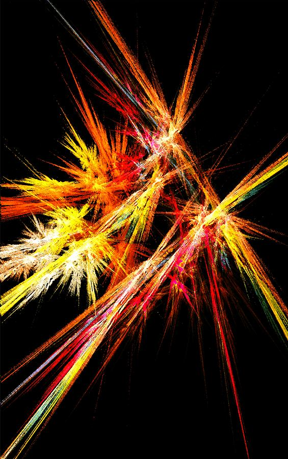 Abstract Digital Art - Fireworks by Anastasiya Malakhova