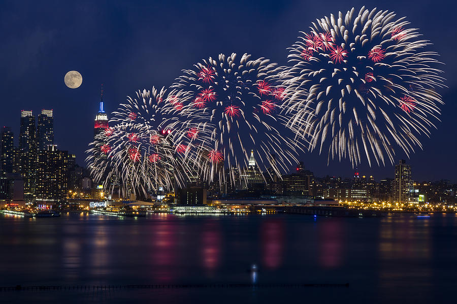 4th Of July Photograph - Fireworks And Full Moon Over New York City by Susan Candelario