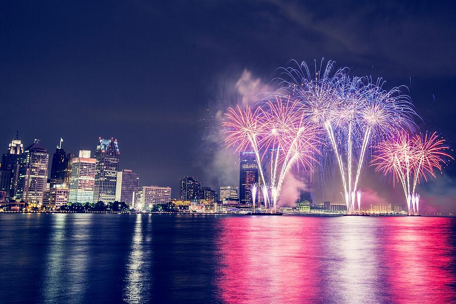 Fireworks And Illuminated City Photograph by Christian Khuong / Eyeem