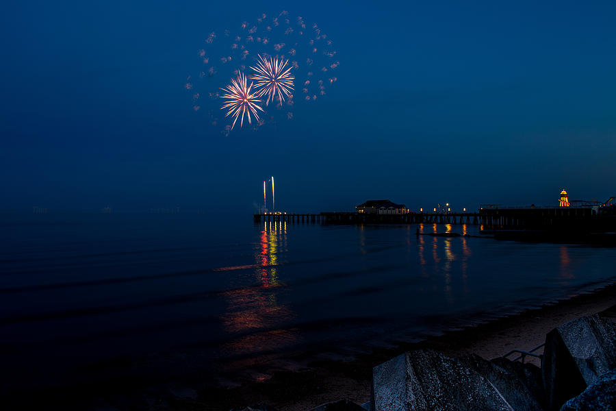 Fireworks Photograph - Fireworks At Clacton by Andrew Lalchan
