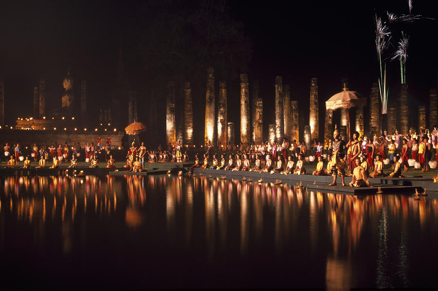 Sukhothai Photograph - Fireworks at festival in Thailand by Richard Berry