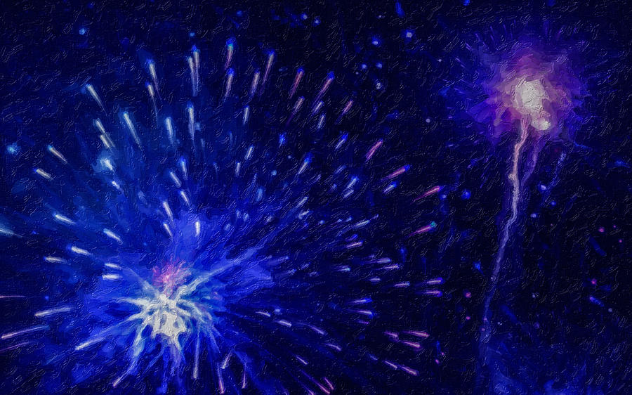 Firework Painting - Fireworks At Night 1 by Jeelan Clark
