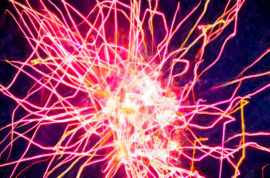 Firework Painting - Fireworks At Night 6 by Jeelan Clark