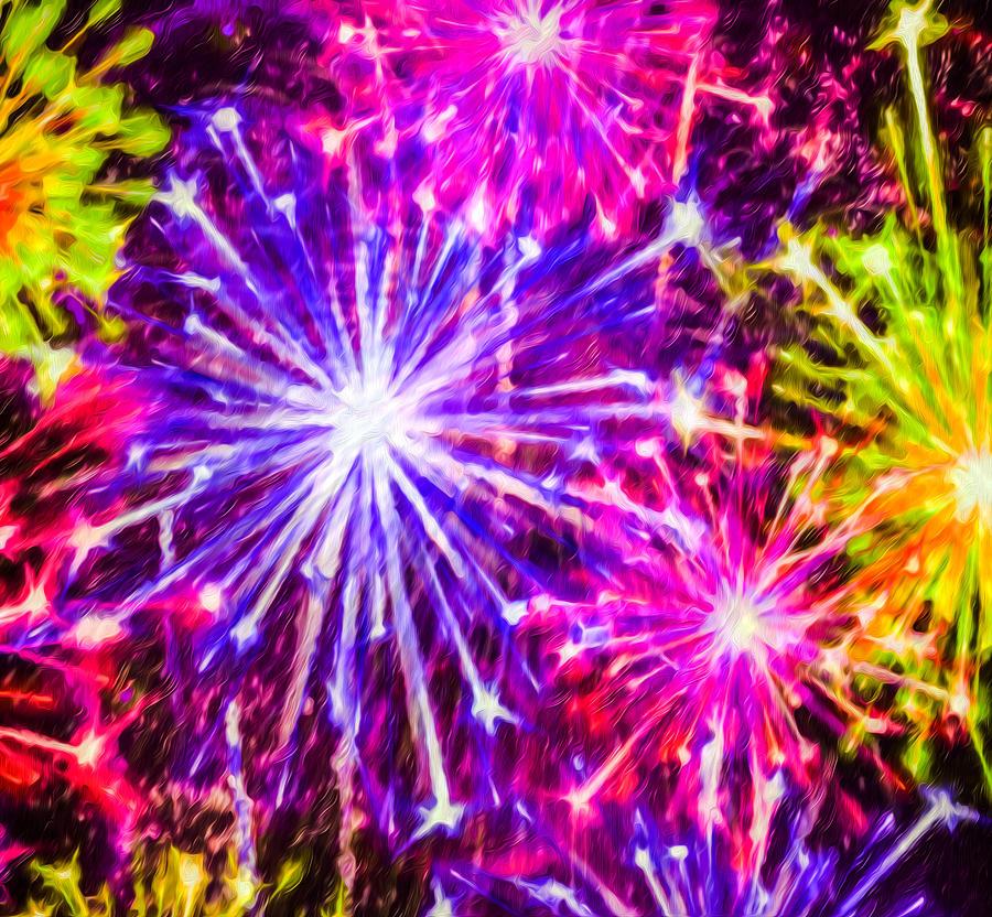 Firework Painting - Fireworks At Night 7 by Jeelan Clark