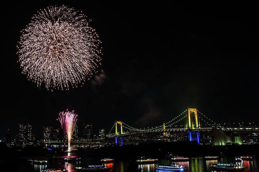 Fireworks At Rainbow Bridge Photograph by ©alan Nee