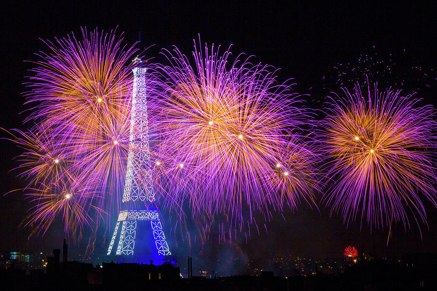Fireworks Photograph - Fireworks At The Eiffel Tower For The 14 July Celebration by Laurent Lothare Dambreville
