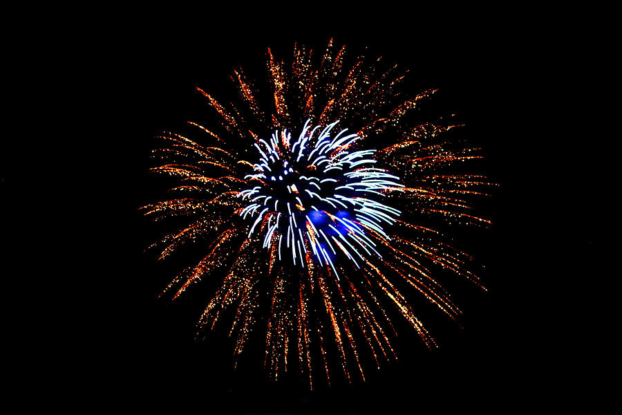 Light Photograph - Fireworks Exposion by Gene Walls