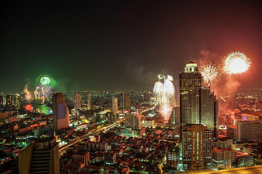Fireworks In Bangkok Cityscape Photograph by Fototrav
