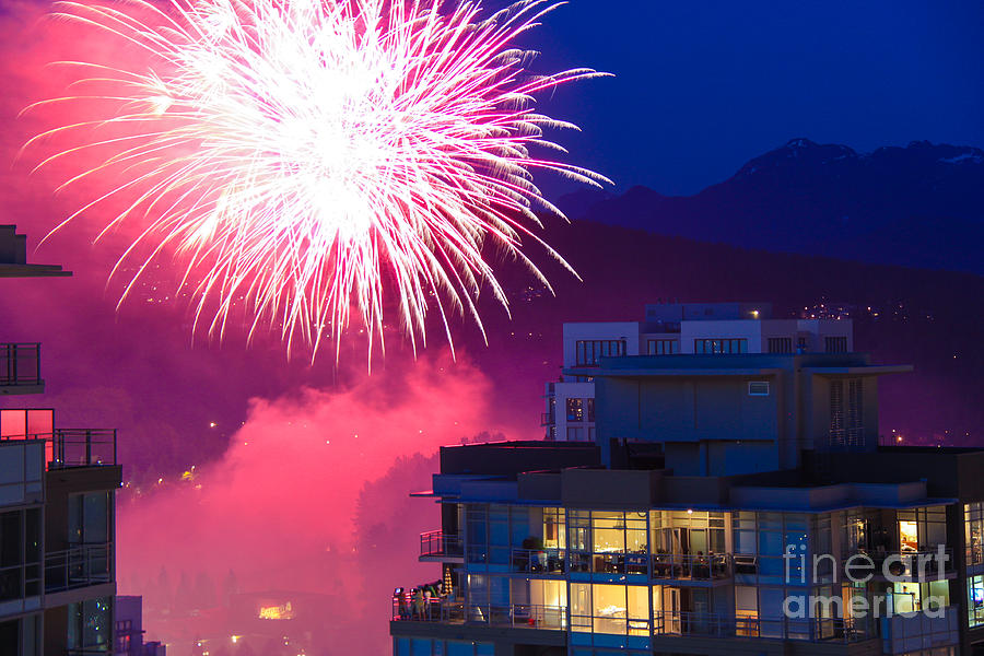 Fireworks Photograph - Fireworks In The City by Nancy Harrison
