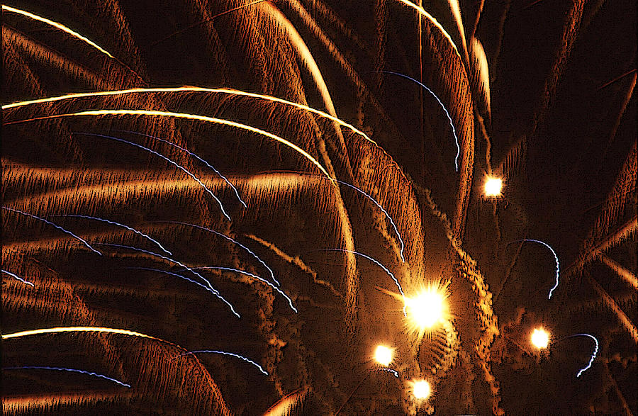Fireworks Photograph - Fireworks In The Wind by Anthony Dalton
