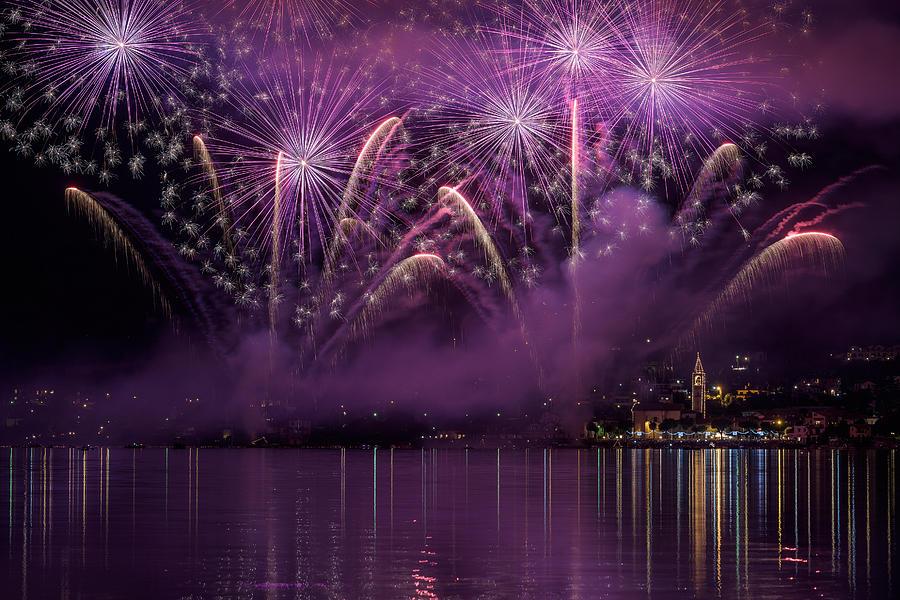 Fireworks Photograph - Fireworks Lake Pusiano by Roberto Marini