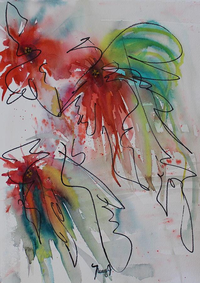 Fireworks Painting - Fireworks by Nancy Gebhardt
