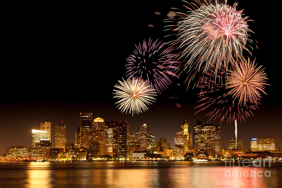 4th Of July Photograph - Fireworks Over Boston Harbor by Susan Cole Kelly