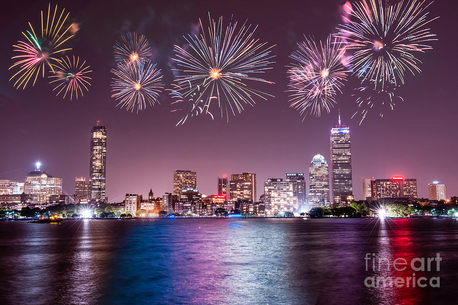 Fireworks Photograph - Fireworks Over Boston by Stacey Granger