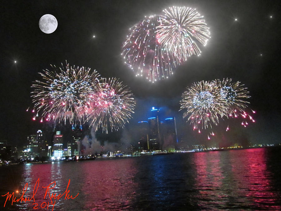 Detroit Photograph - Fireworks Over Detroit by Michael Rucker