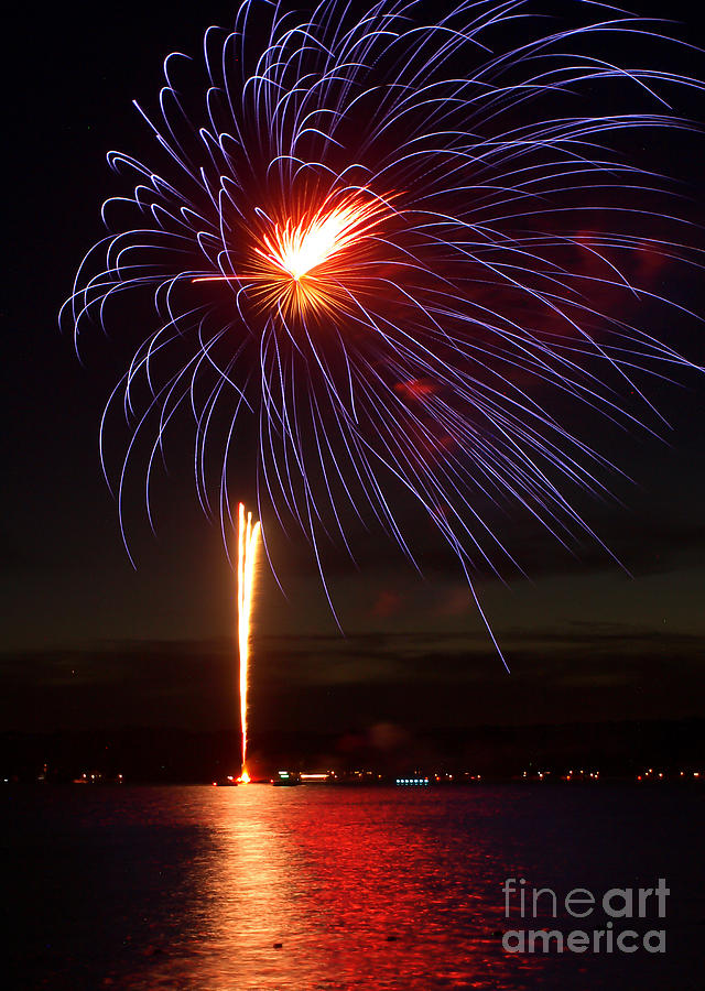 July 4th Photograph - Fireworks Over Lake by Raymond Earley