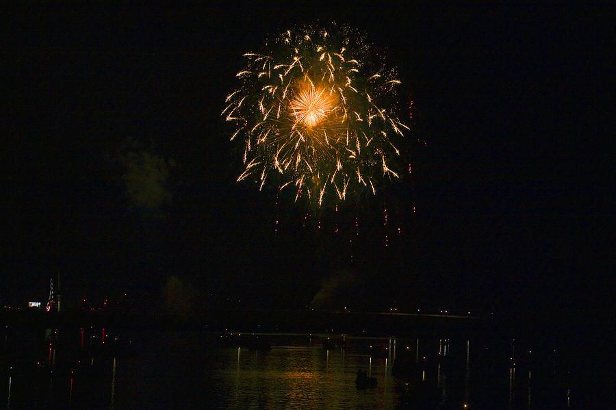 Boats Photograph - Fireworks Over Market Street Bridge by Gene Walls