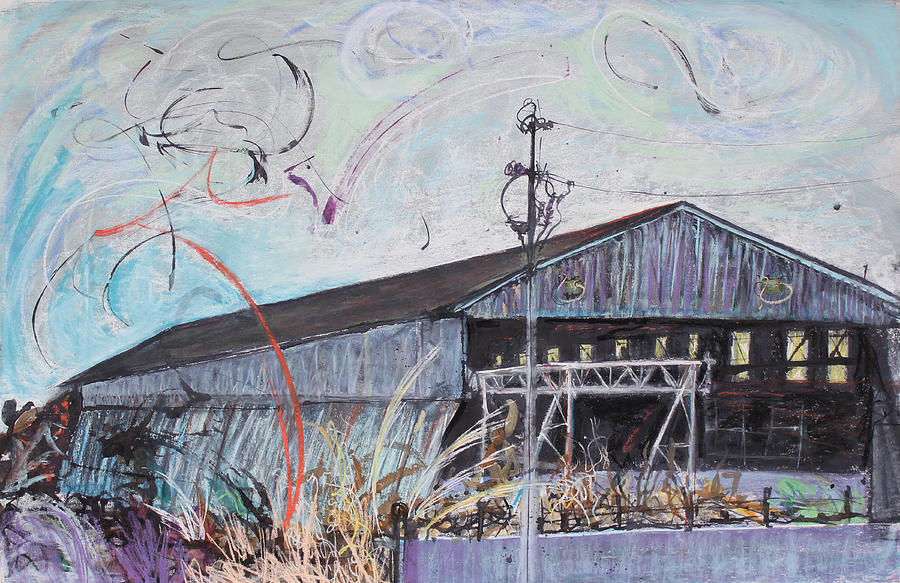 Industrial Landscape Painting Painting - Fireworks Over Schnitzer Steel by Asha Carolyn Young