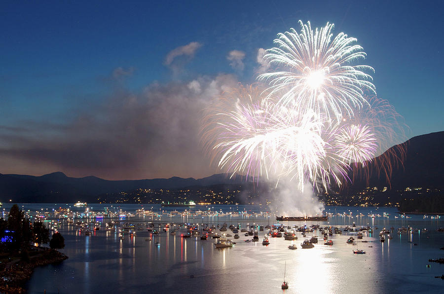 Fireworks Over The Water And Boats Photograph by Celine Ramoni Lee