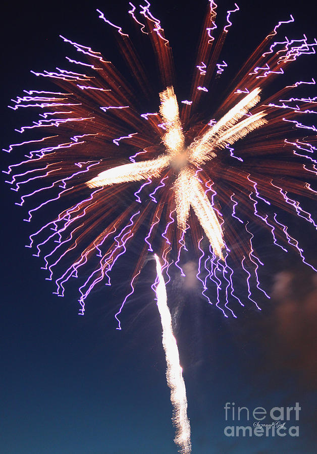 July Photograph - Fireworks Series Xii by Suzanne Gaff
