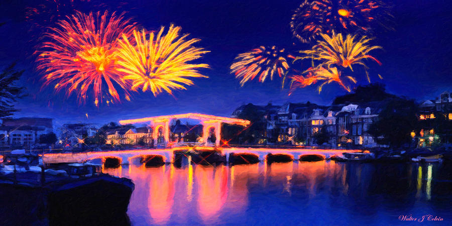 Fireworks Digital Art - Fireworks by Walter Colvin