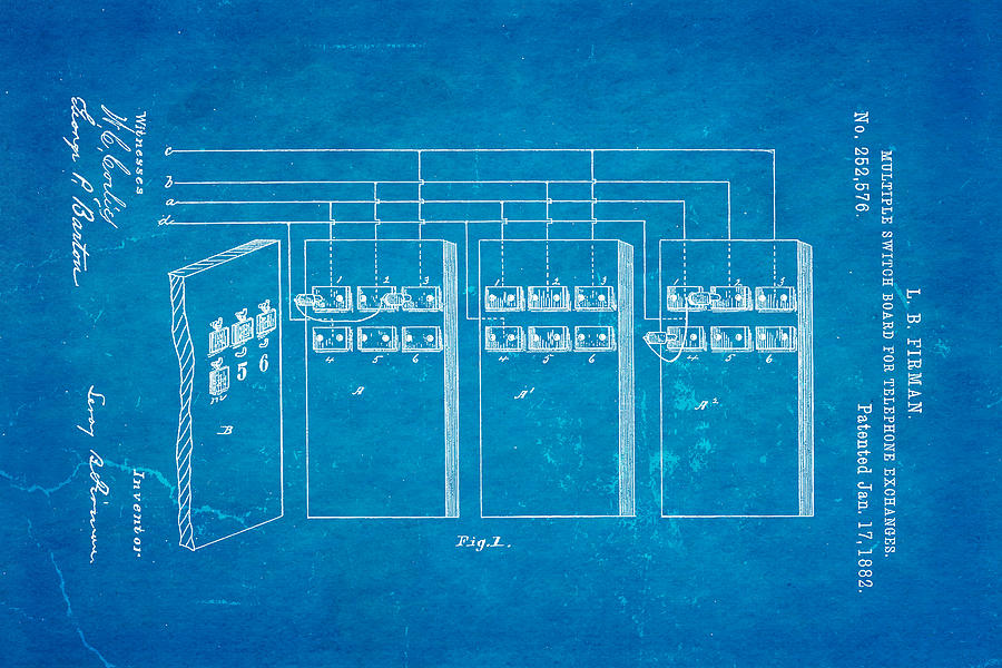 Firman telephone exchange patent art 1882 blueprint photograph by electricity photograph firman telephone exchange patent art 1882 blueprint by ian monk malvernweather Choice Image