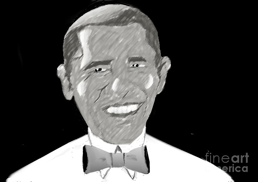 Barack Obama Drawing - First African American President by Belinda Threeths