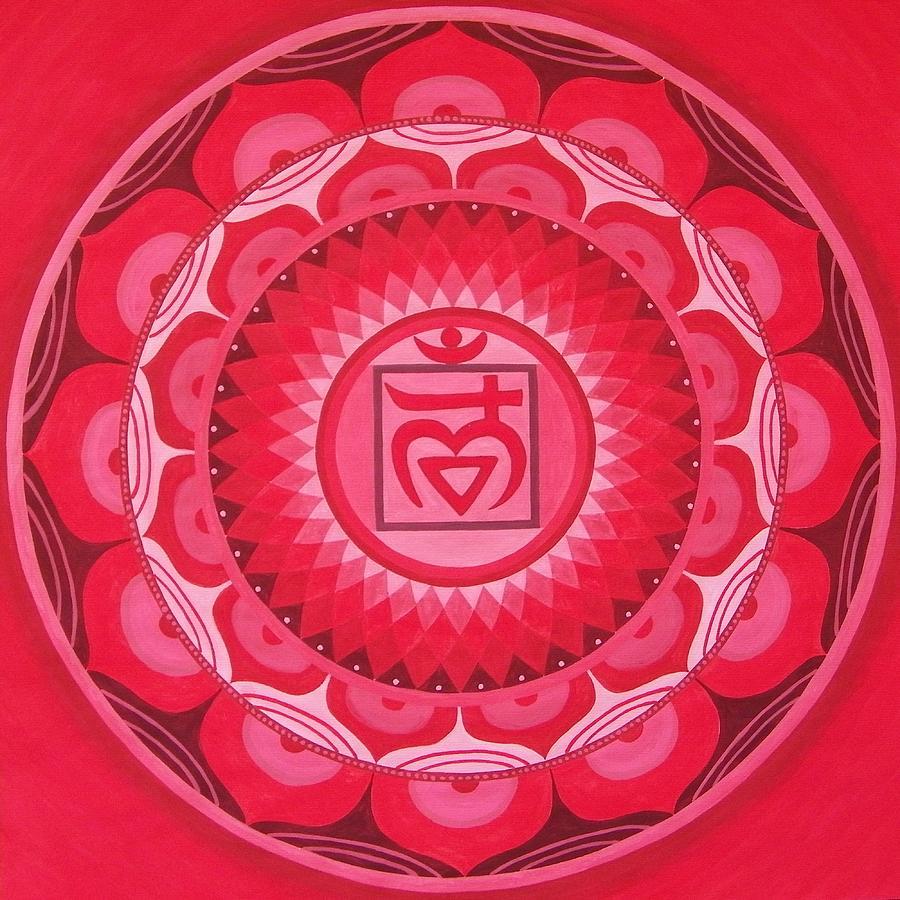 First Chakra Mandala Painting by Vlatka Kelc