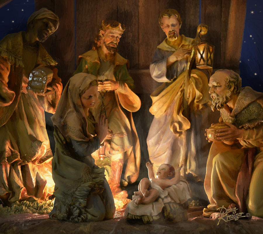 Baby Jesus Painting - First Christmas by Doug Kreuger