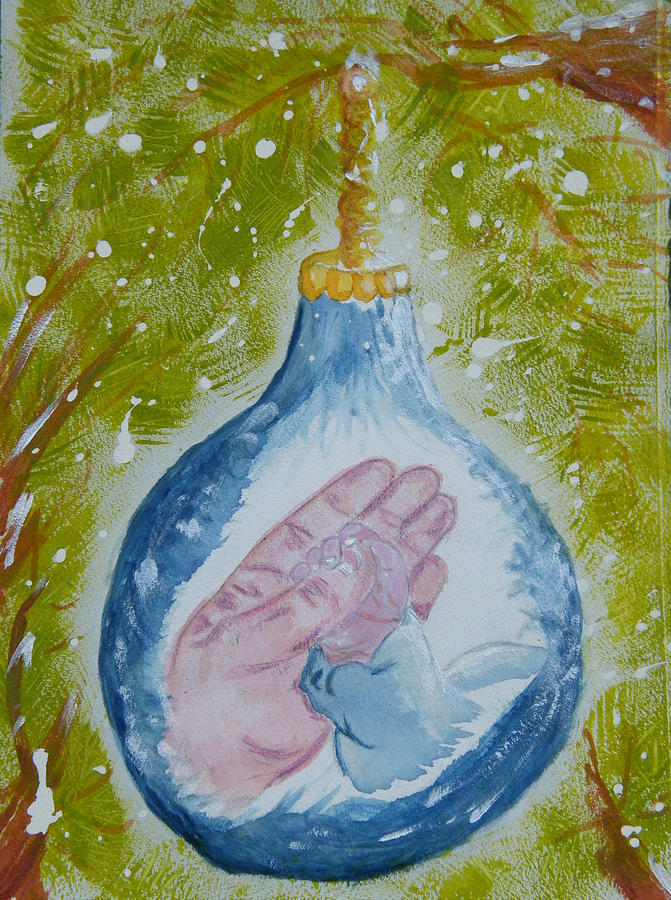 Christmas Painting - First Christmas II by Margaret G Calenda