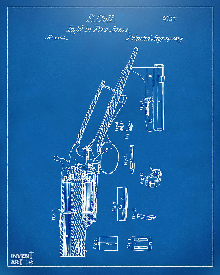 1839 colt revolver patent artwork blueprint digital art by nikki colt digital art 1839 colt revolver patent artwork blueprint by nikki marie smith malvernweather Gallery