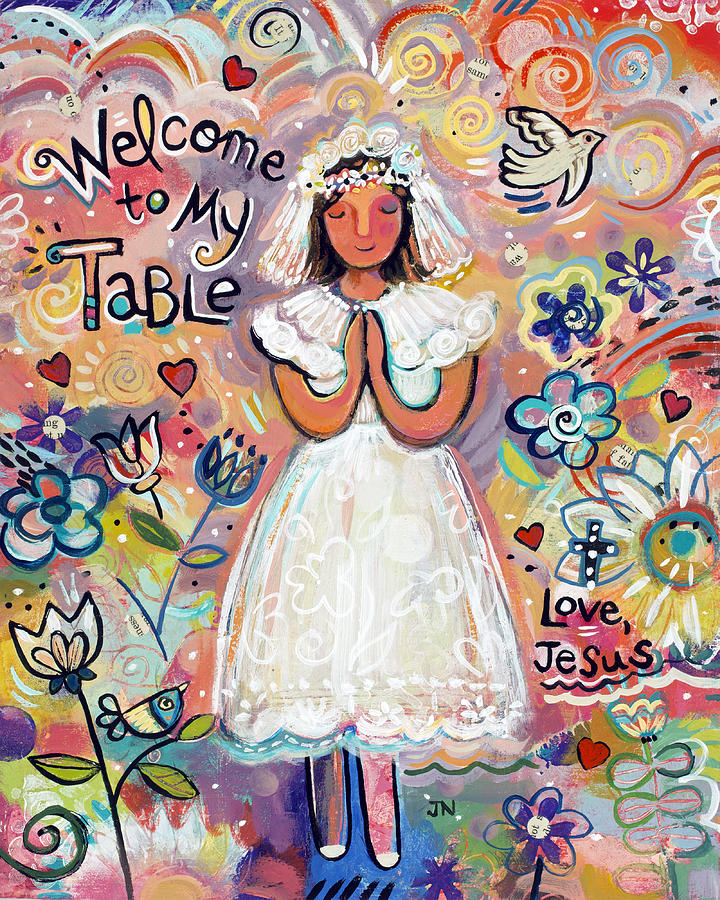 First Communion Painting - First Communion Girl by Jen Norton