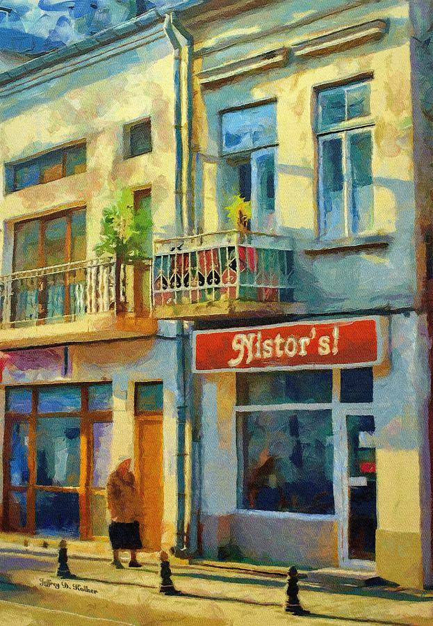 Romania Painting - First Customer Of The Day by Jeff Kolker