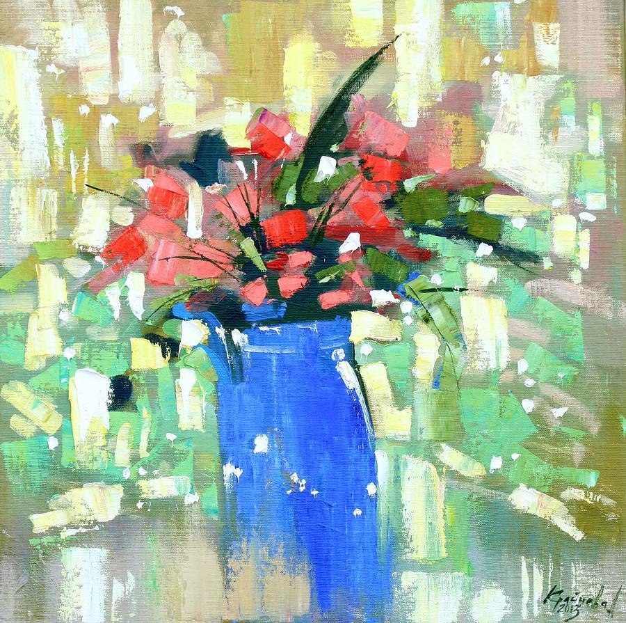 Oil On Canvas Painting - First Day Of Spring by Anastasija Kraineva