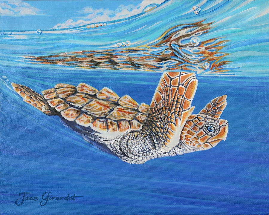 Ocean Painting - First Dive by Jane Girardot