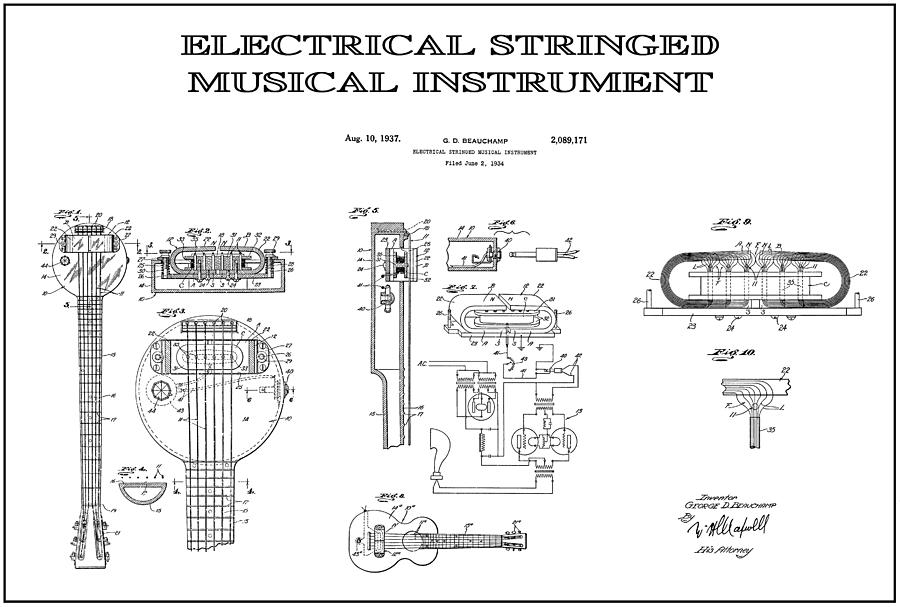 First Electric Guitar 4 Patent Art 1937 Digital Art By