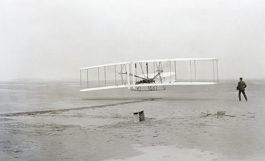 Wright Brothers Photograph - First Flight Captured On Glass Negative - 1903 by Daniel Hagerman