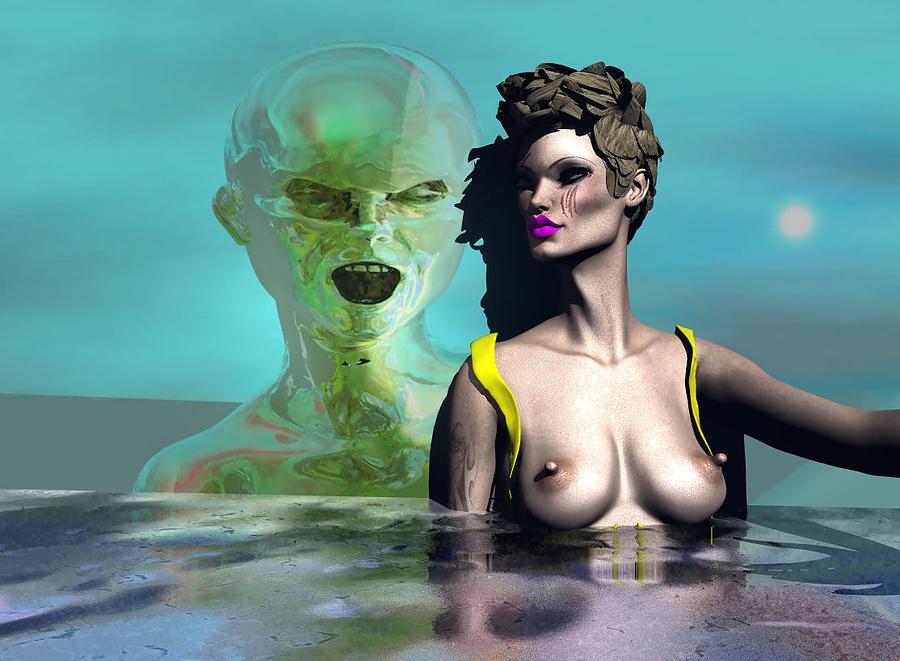 Dark Side Digital Art - First Kiss 500 by Stephen Donoho