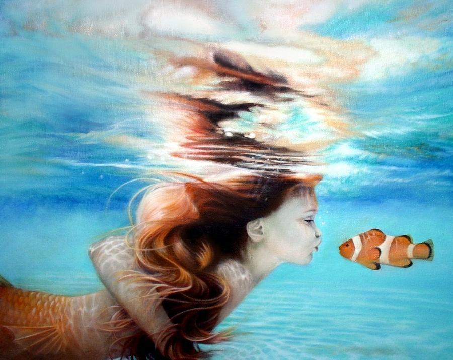 Mermaid Painting - First Kiss by Karen Kutoloski