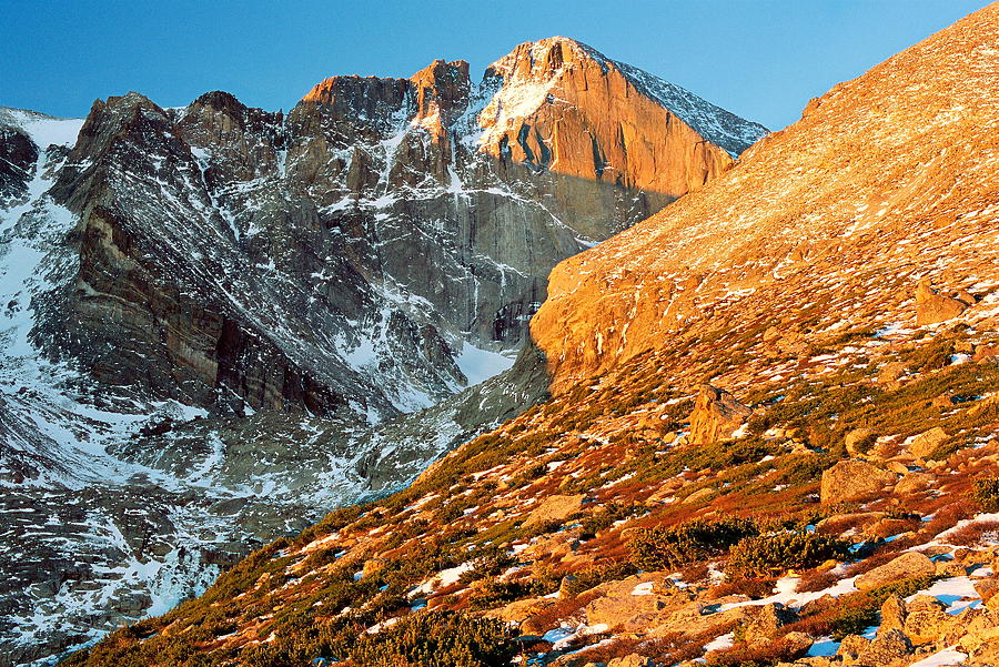 Landscapes Photograph - First Light At Longs Peak by Eric Glaser