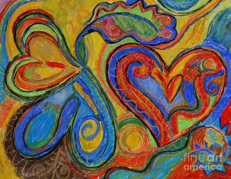 Colorful Hearts Mixed Media - First Love by Kelly Athena