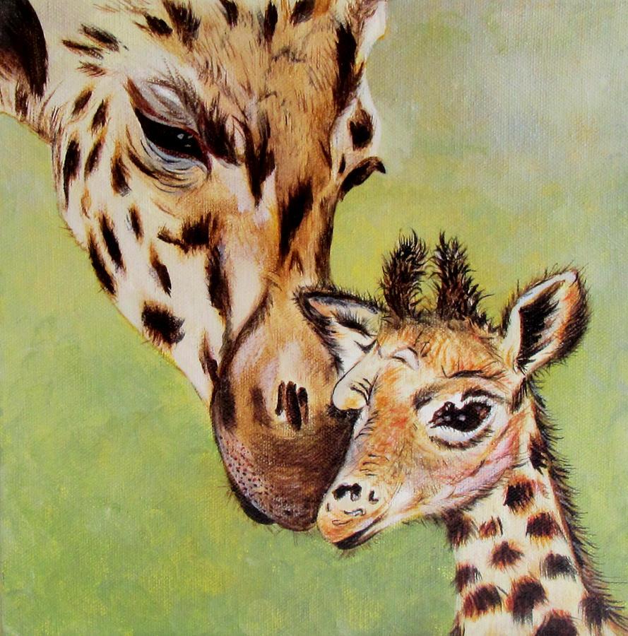 Giraffe Painting - First Love by Susan Duxter