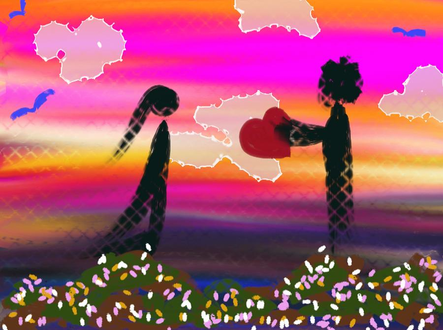 Digital Paintings Digital Art - First Love by Lady Ex