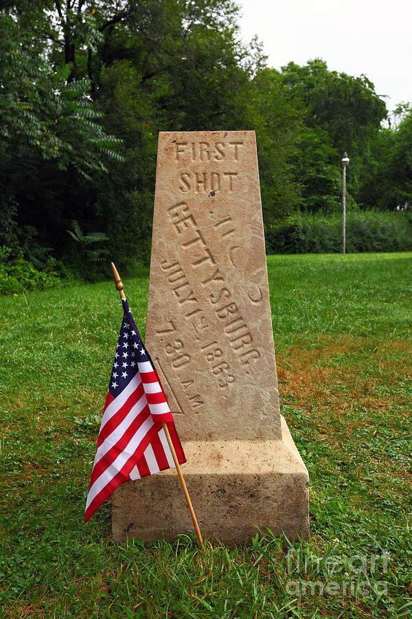 Gettysburg Photograph - First Shot Monument Gettysburg by James Brunker